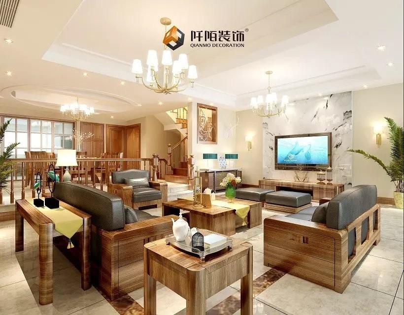 青林湾别墅中式新房住宅装修设计效果图