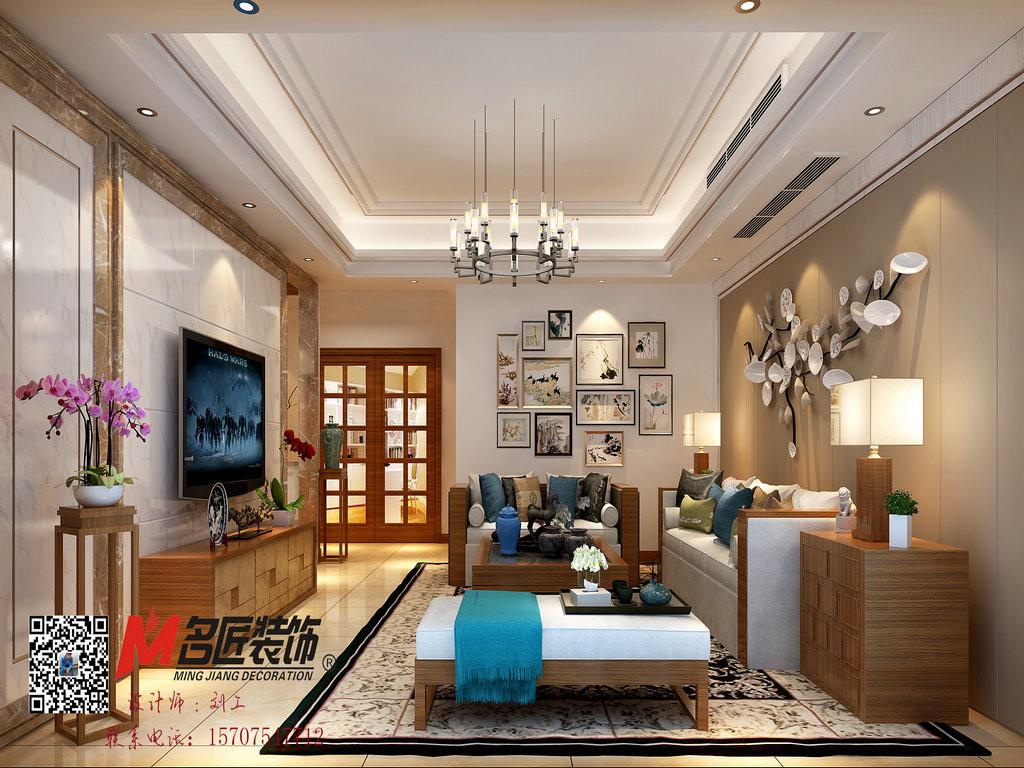 尚海阳光中式新房住宅装修设计效果图