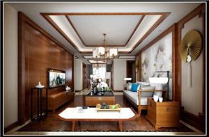 中海玫瑰园中式新房住宅装修设计效果图