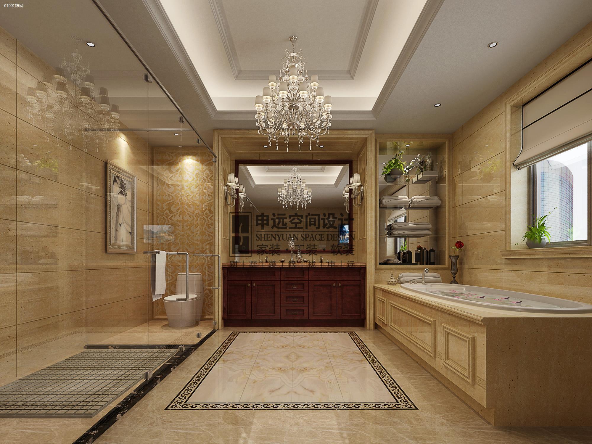 尚御府 300平米 欧式风格装修实拍图   卫生间:奢华的吊灯,米黄色的大