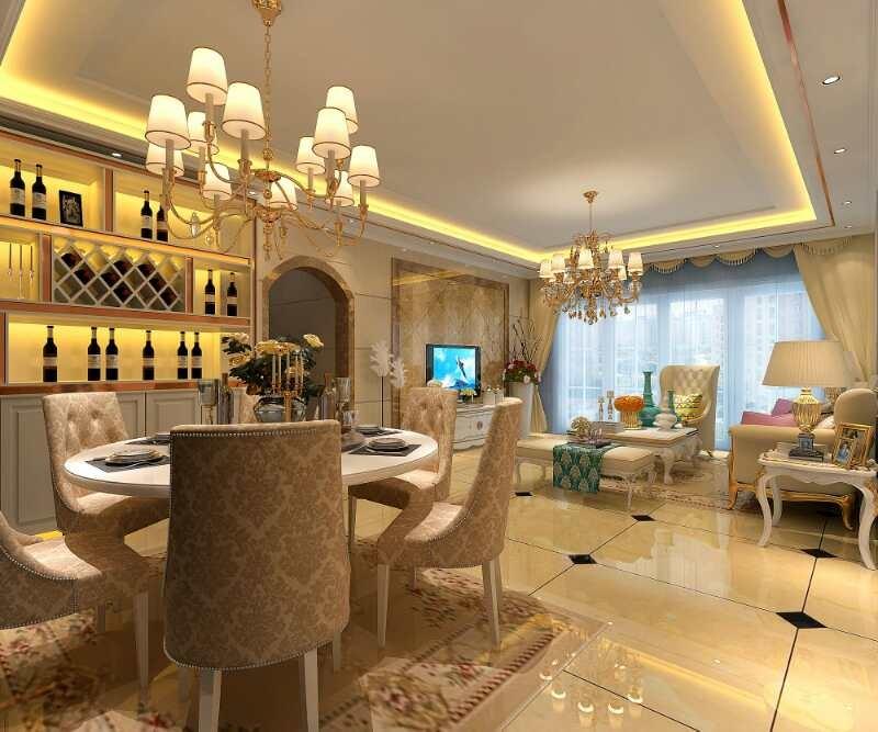 三水北江明珠简欧136方12.8万新房住宅装修设计效果图