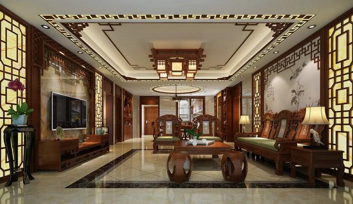 禅城绿岛明珠 杨总中式新房住宅装修设计效果图