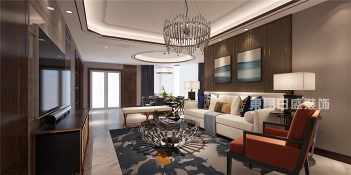 钱塘大观-新中式风格效果图中式新房住宅装修设计效果图