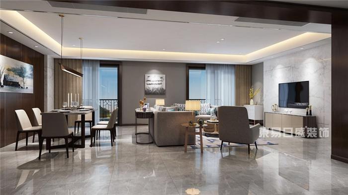 艮山府-280㎡现代简约效果图-简约新房住宅装修设计效果图
