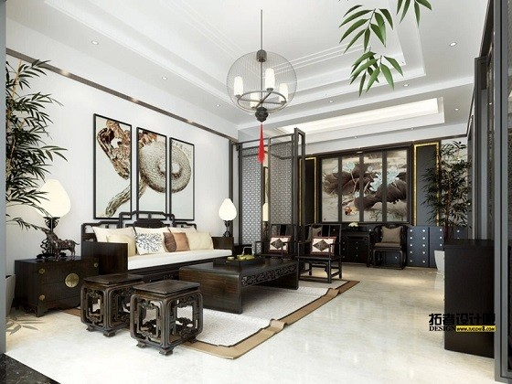 天成家园中式新房住宅装修设计效果图