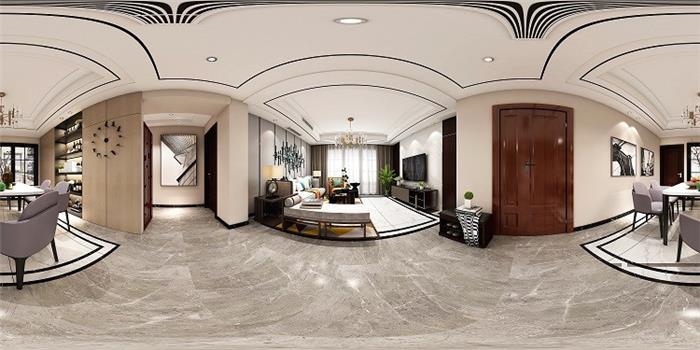 东方港城中式新房住宅装修设计效果图