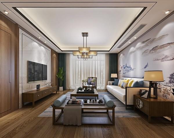 东方港城 中式新房住宅装修设计效果图