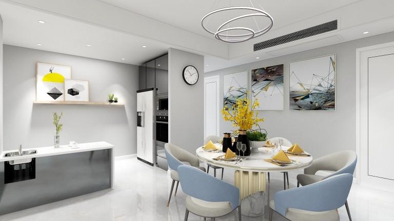 宁波高新区印象湖滨4幢901室 简约新房住宅装修设计效果图