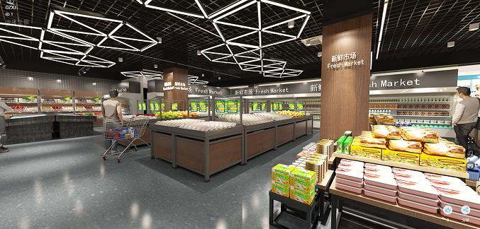 泰安生鲜超市  现代商业店铺装修设计效果图