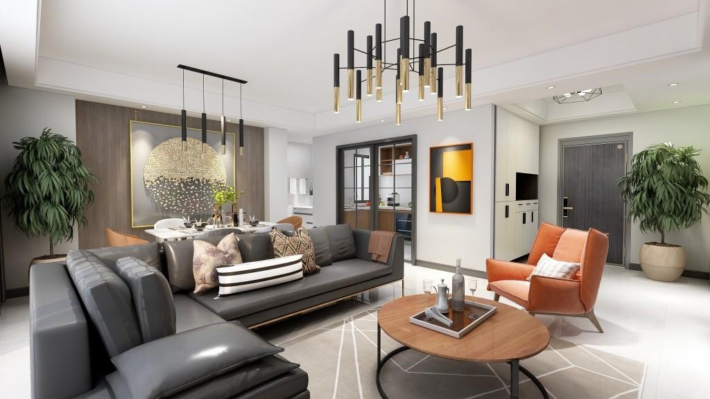 宁波鄞州 荣安月园6幢806室 简约新房住宅装修设计效果图
