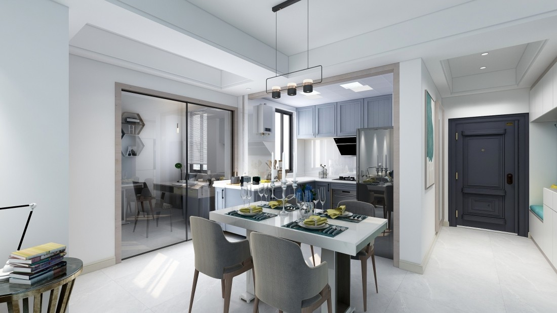 宁波 海曙绿地观堂21幢1702室 现代新房住宅装修设计效果图