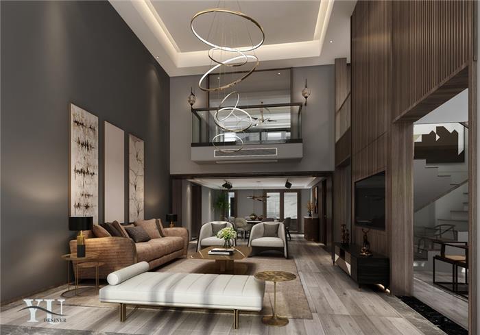中式古典复式住宅装修设计效果图