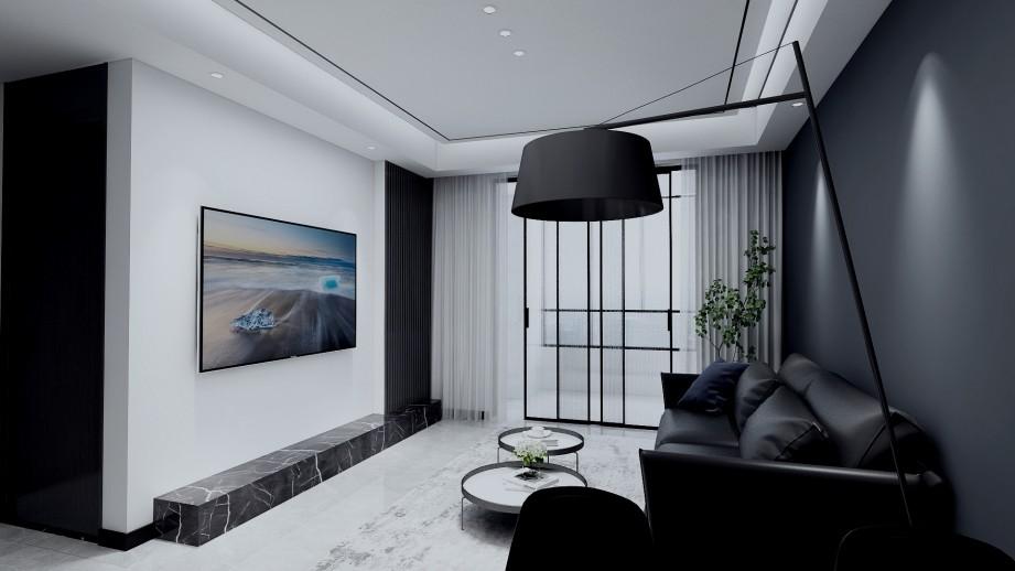 宁波海曙君尚城17幢2201室 后现代新房住宅装修设计效果图