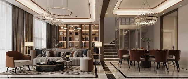 星海彼岸别墅装修案例-350平方轻奢联排别墅装修设计效果图