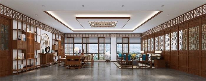 万洋中式办公室装修-中式写字楼办公室装修设计效果图
